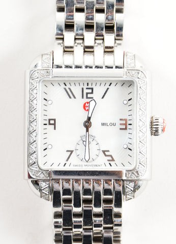"Michele Stainless Steel and .30 TCW Diamond Band ""Milou"" Watch Detail"