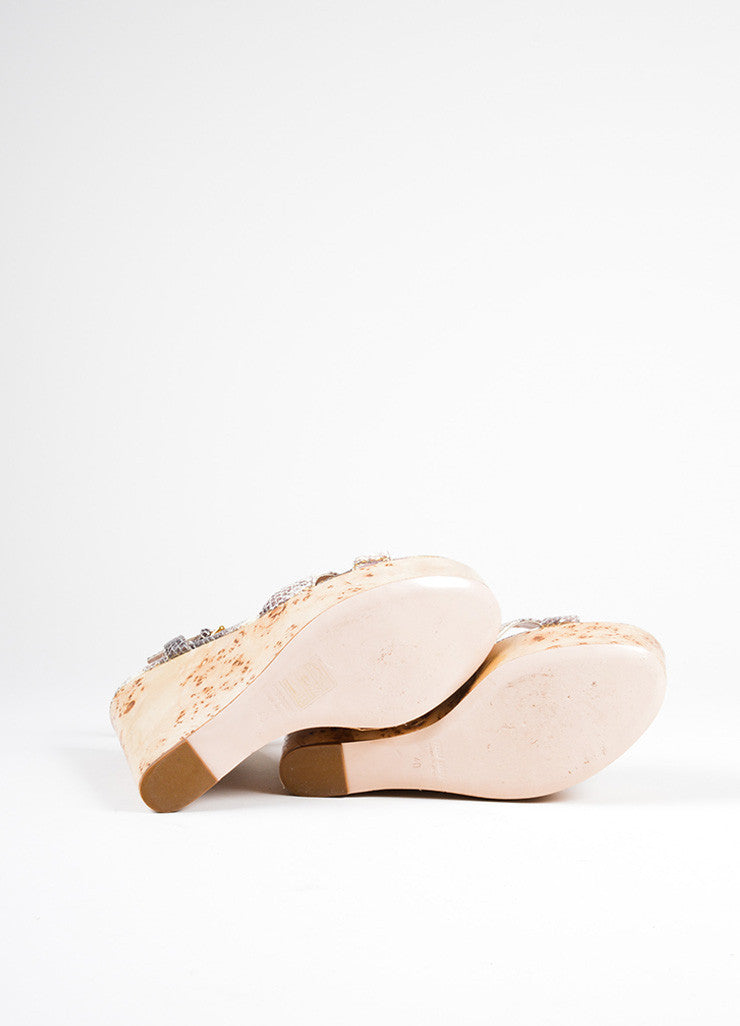 Miu Miu Cream and Brown Leather Wooden Wedge Sandals Sole