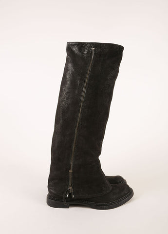 Miu Miu Black Leather Zippered Layered Shaft Knee High Boots Sideview