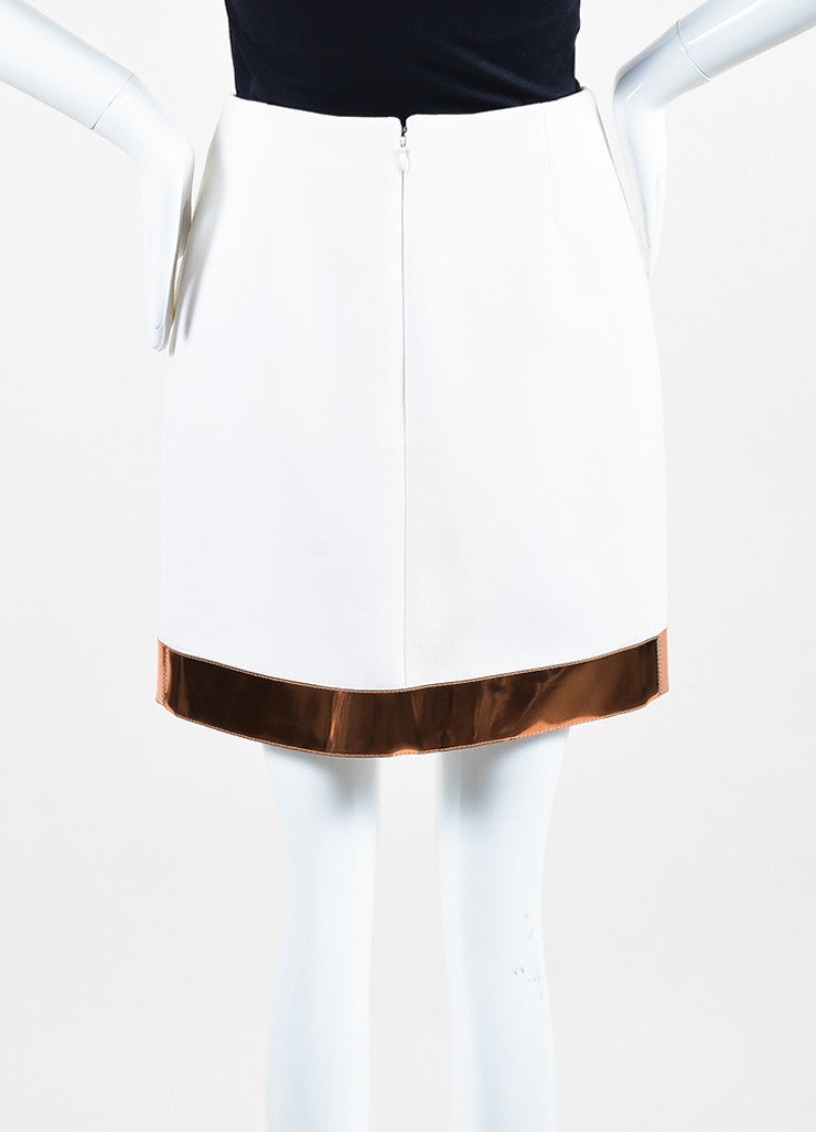 Mugler White Copper Trim Wool Crepe Wrap Skirt Backview
