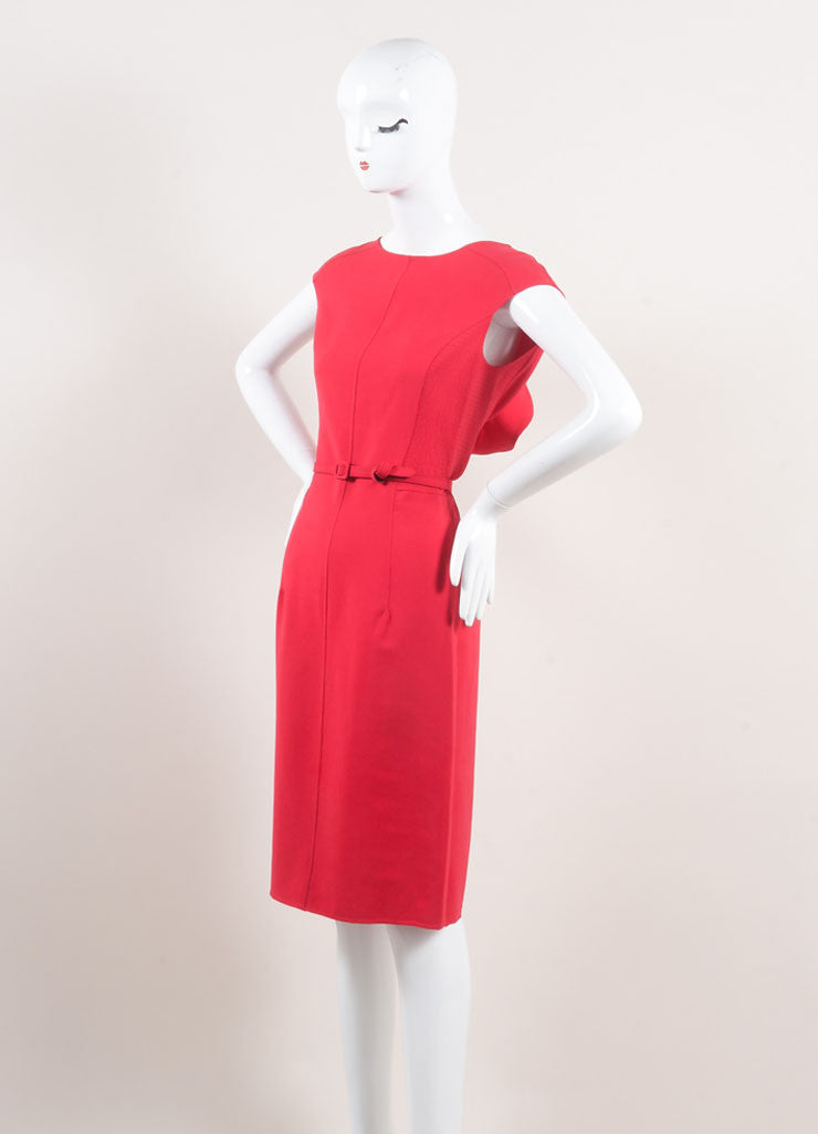 Oscar de la Renta New With Tags Red Stitched Side Ruffle Back Wool Sheath Dress Sideview