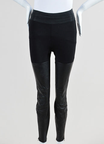 Black Paige Stretch Knit Leather Paneled Skinny Legging Pants Frontview