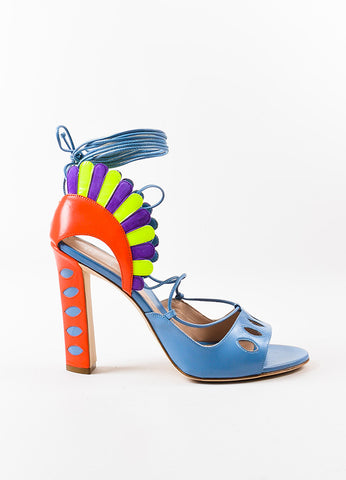 "Paula Cademartori Blue and Pink Leather Suede ""Lotus"" Sandals Sideview"