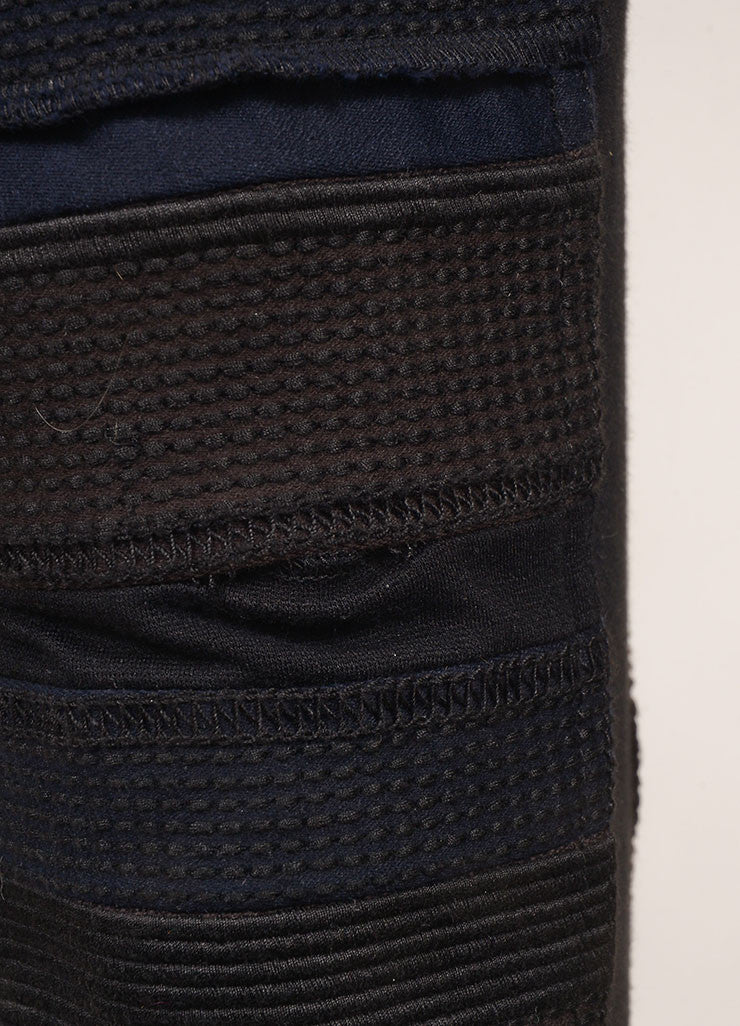 3.1 Phillip Lim New With Tags Black and Grey Cotton Knit Trim Patchwork Skinny Pants Detail