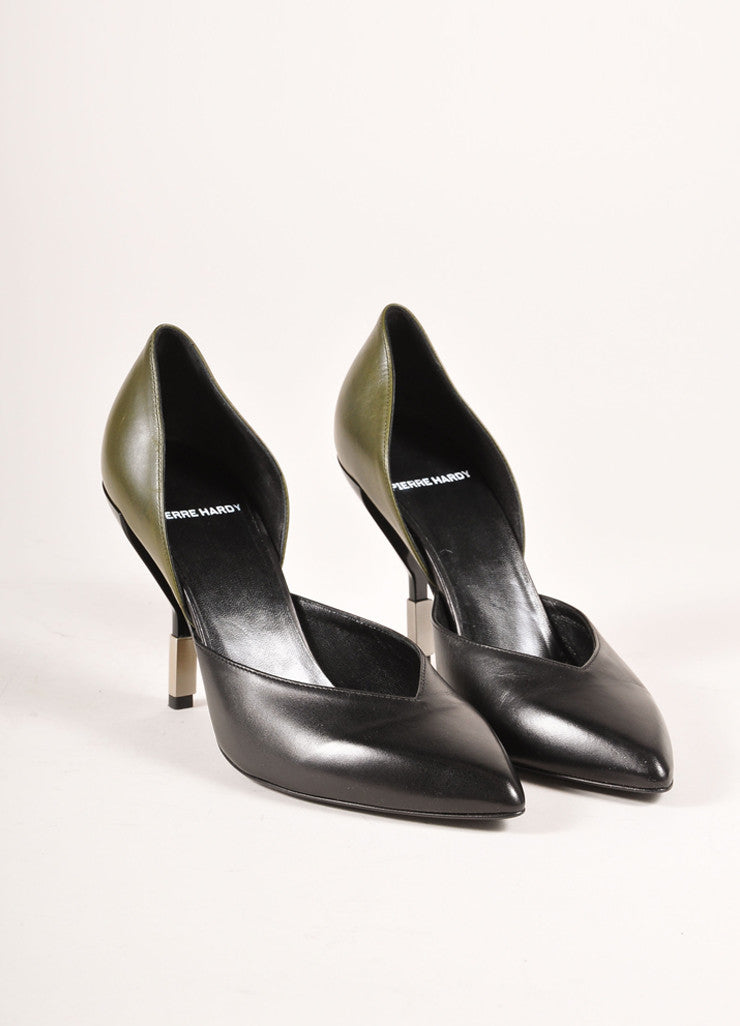 "Pierre Hardy New In Box Black and Green Pointed Toe D'Orsay ""Carryovers"" Pumps Frontview"