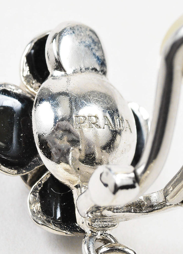 White Resin, Enamel, and Crystal Prada Link Clip On Drop Earrings Brand