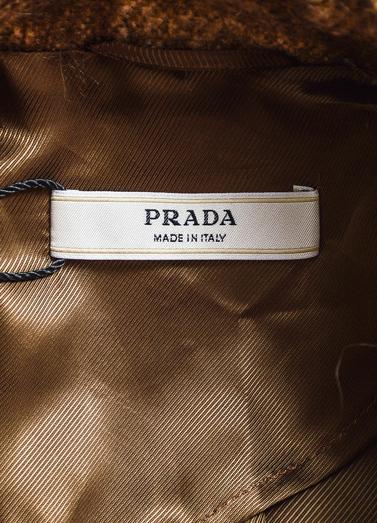 Prada Brown and Cream Mohair and Wool Blend Animal Spotted and Pleated Coat Brand