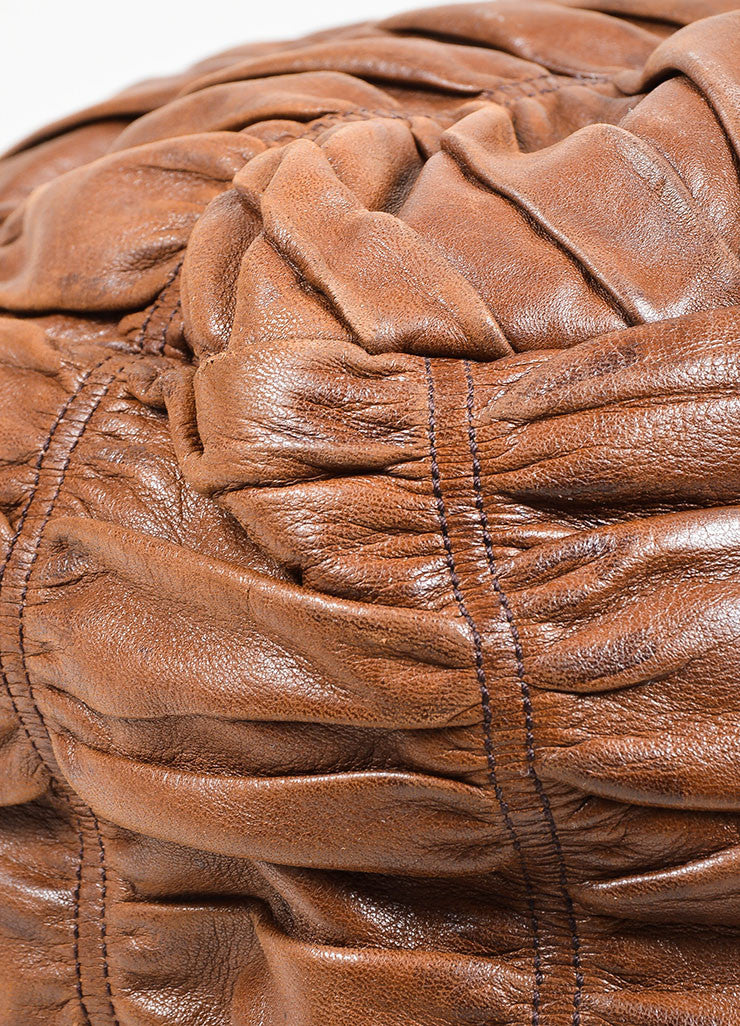 "Brown and Green Prada Nappa Leather Gaufre Ruched ""Sacca"" Hobo Bag Detail"