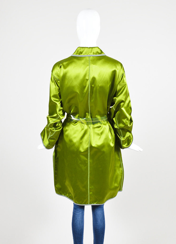 Prada Green and Grey Silk Belted Evening Coat Backview