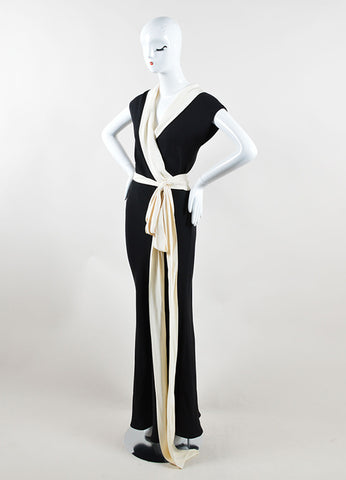 Ralph Lauren Black Label Black and Cream Silk Sash Tie Sleeveless Gown Sideview