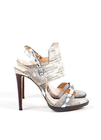 "Reed Krakoff Beige and Grey Lizard Skin Metallic Trim ""Solar"" Sandals Sideview"