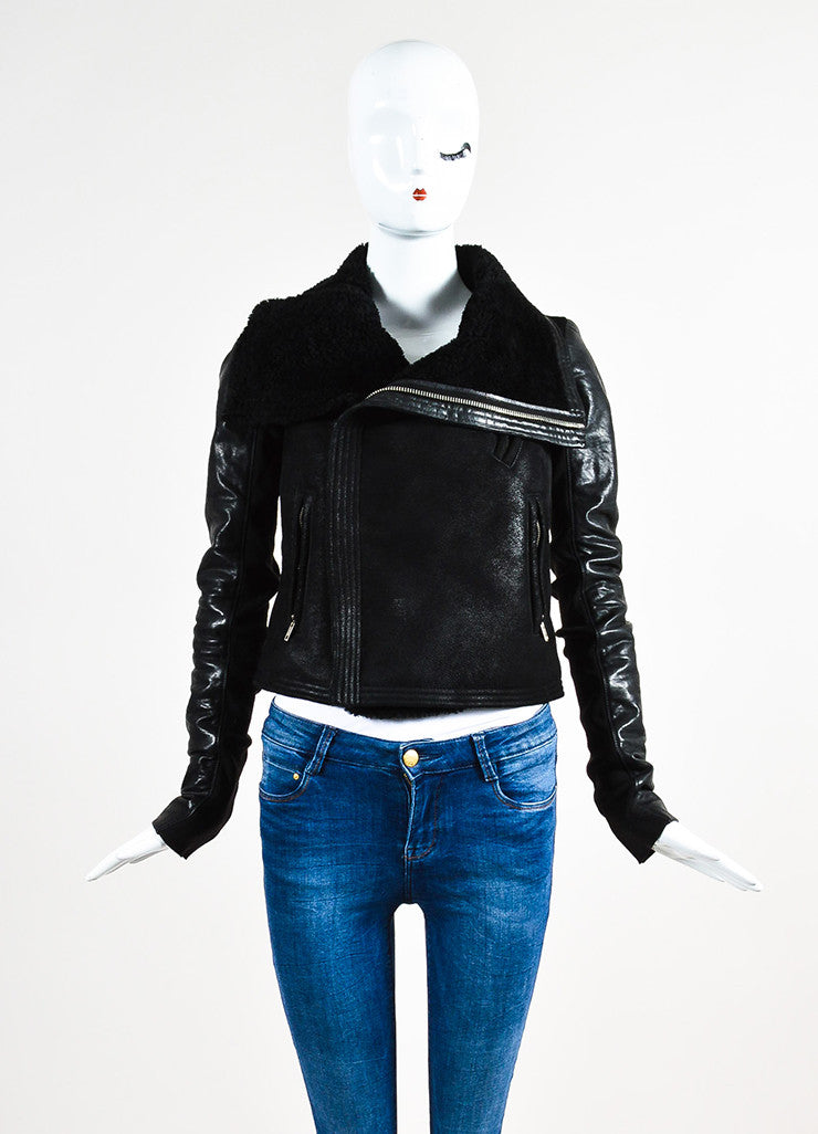 Rick Owens Black Leather Shearling Knit Insert Moto Jacket Frontview 2