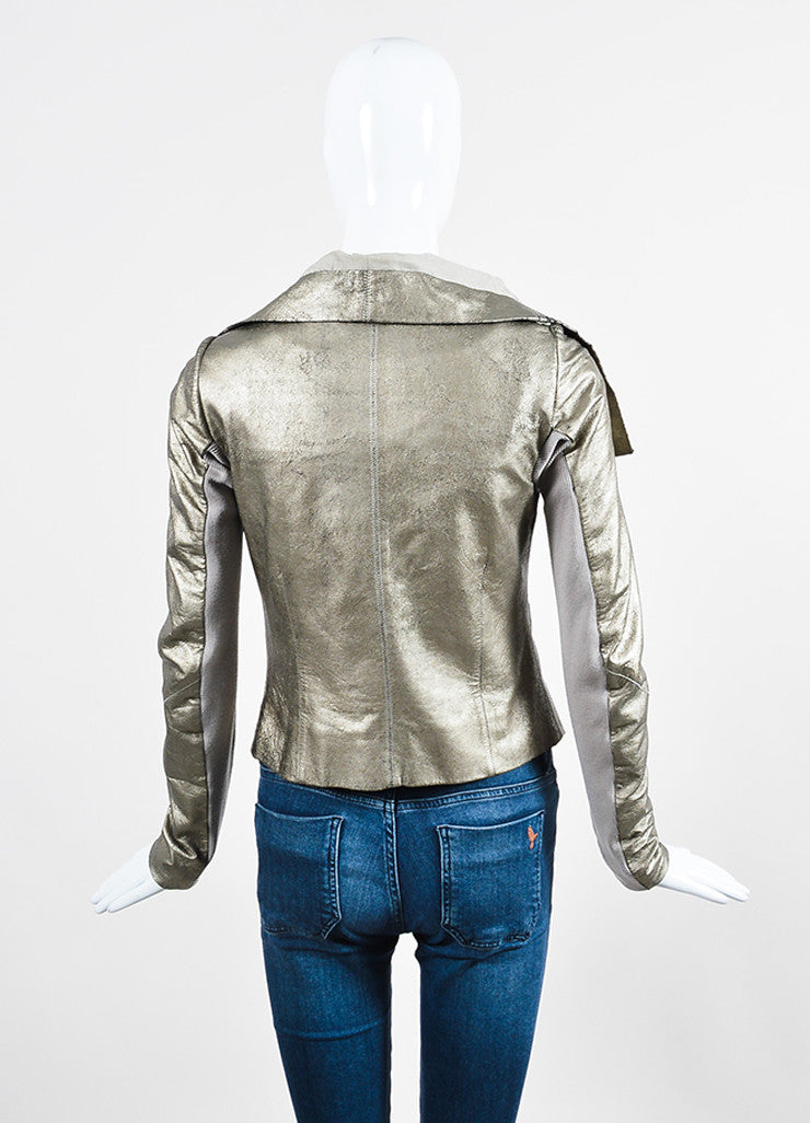 Rick Owens Metallic Gold Crackled Leather Wool Knit Zip Moto Jacket Backview