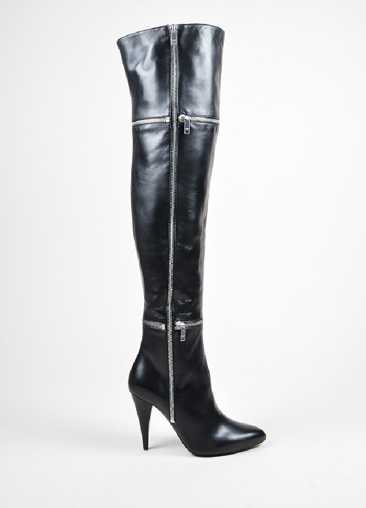 "Black Saint Laurent Leather Zipper ""Fetish"" Thigh High Boots Sideview"