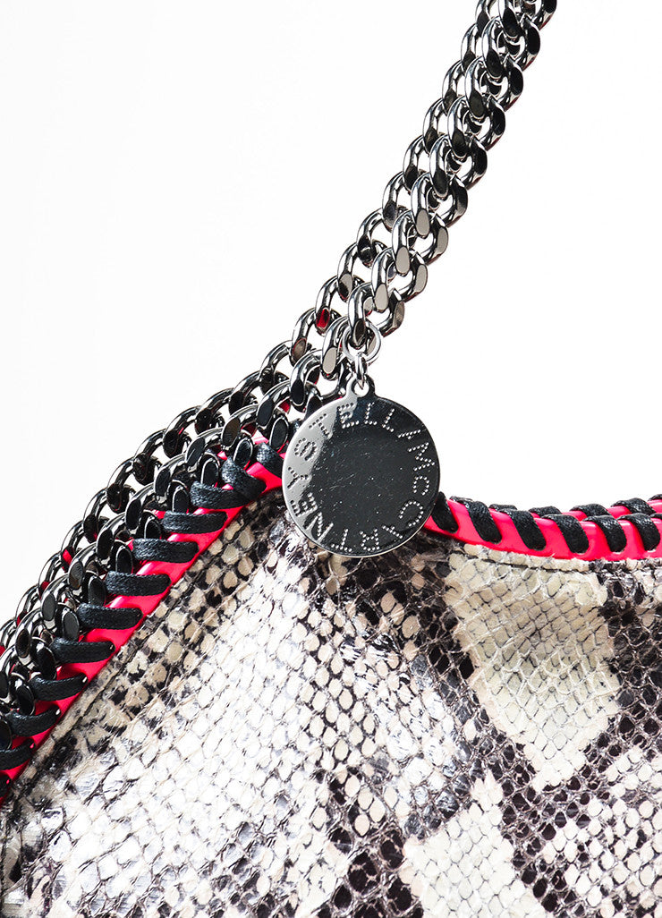"Stella McCartney Grey and Neon Pink Python Print Faux Leather Chain ""Falabella"" Bag Detail 2"