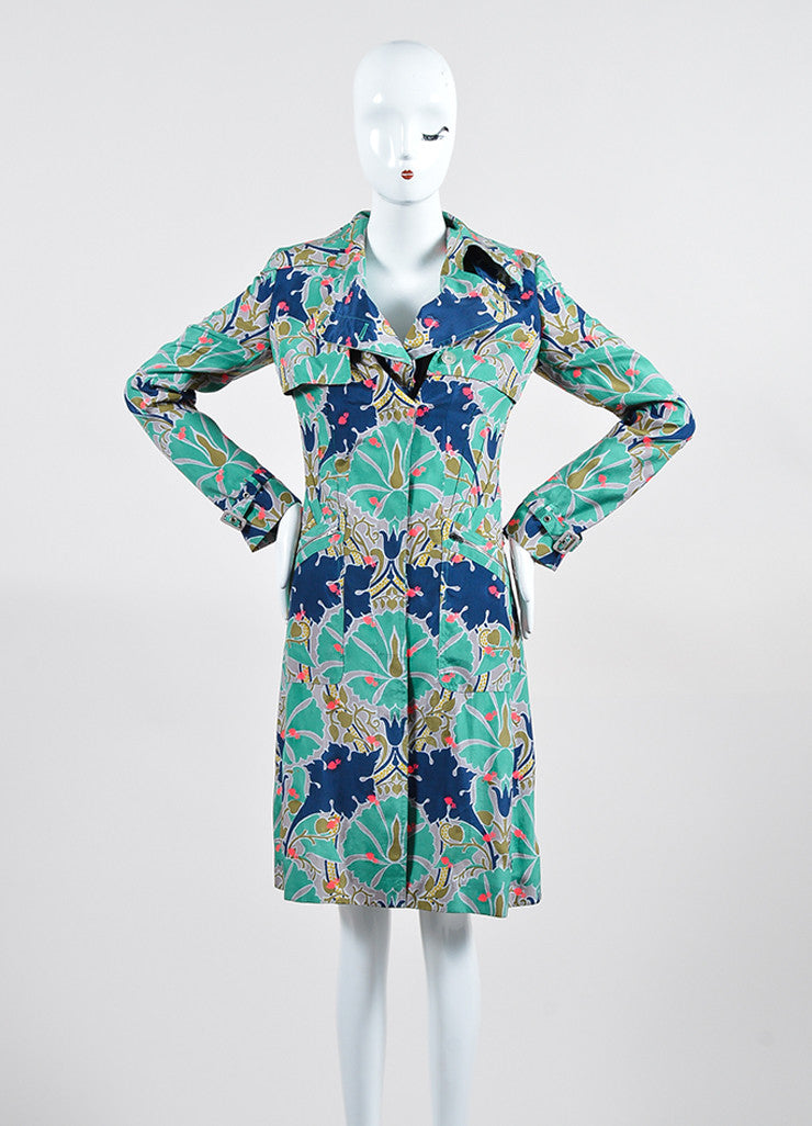 Green, Blue, and Pink Stella McCartney Silk Blend Printed Shirt Dress Frontview