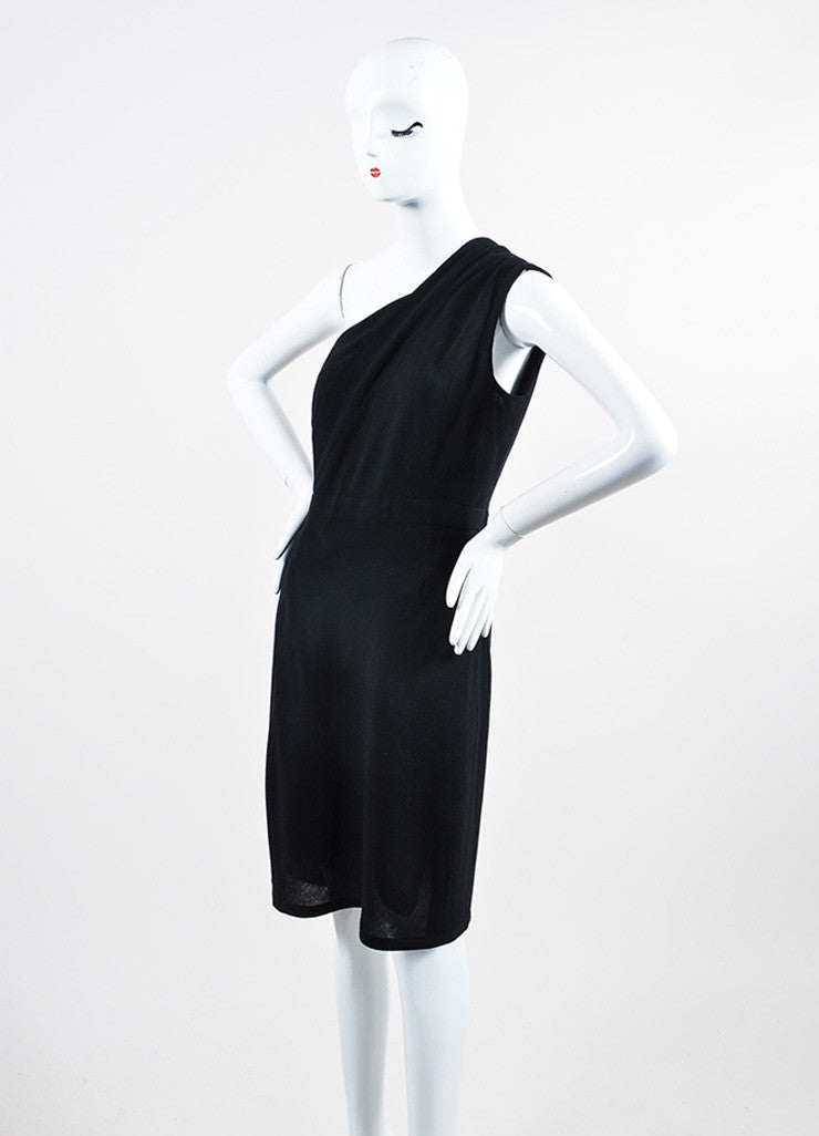 Black Chanel Crepe Wool One Shoulder Wrap Sheath Dress Sideview