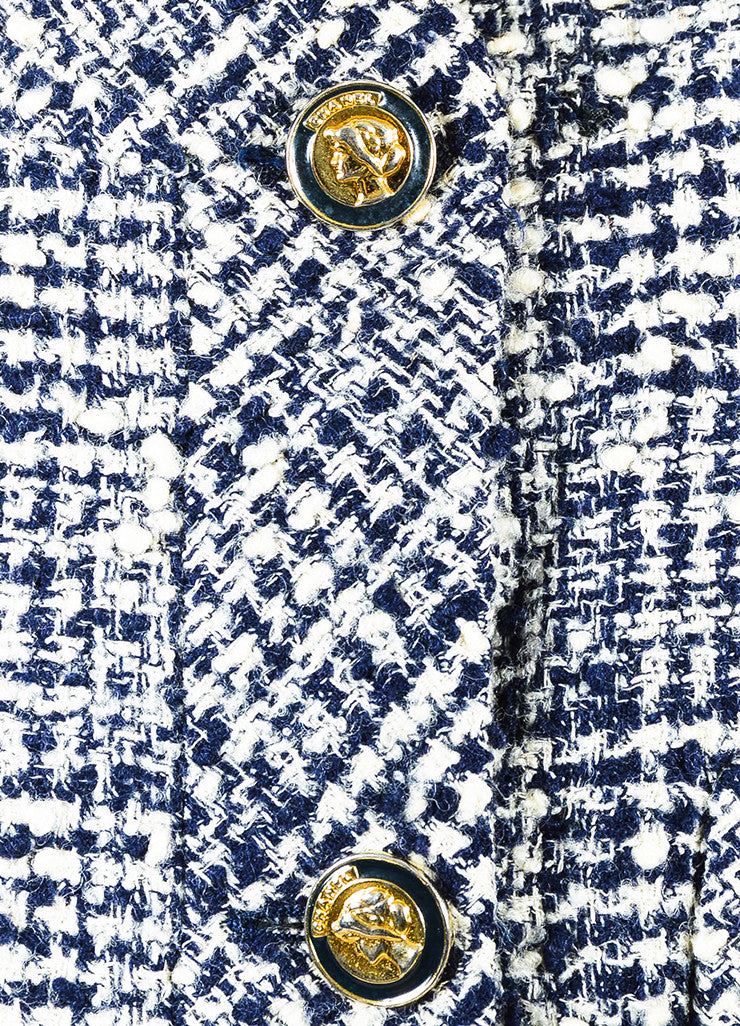 Chanel Navy and Cream Tweed Double Breasted Cropped Jacket Detail