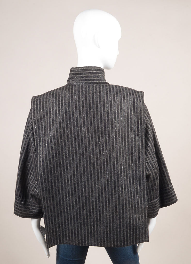 Chloe Black and Grey Silk and Wool Metallic Stripe Paneled Crop Sleeve Jacket Backview