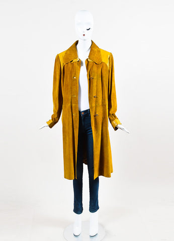 Gucci Yellow Suede Leather Trim Horseshoe Hardware Long Jacket Frontview