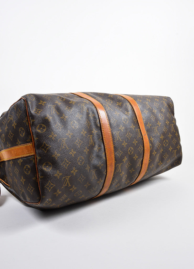 "Brown Louis Vuitton Coated Canvas ""Keepall Bandouliere 50"" Duffle Bag Bottom View"