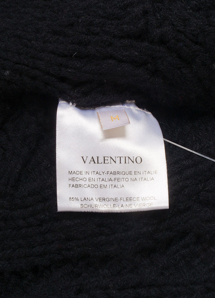 Valentino Black Cable and Popcorn Knit Wool and Velvet Tie Long Sleeve Sweater Cardigan Brand