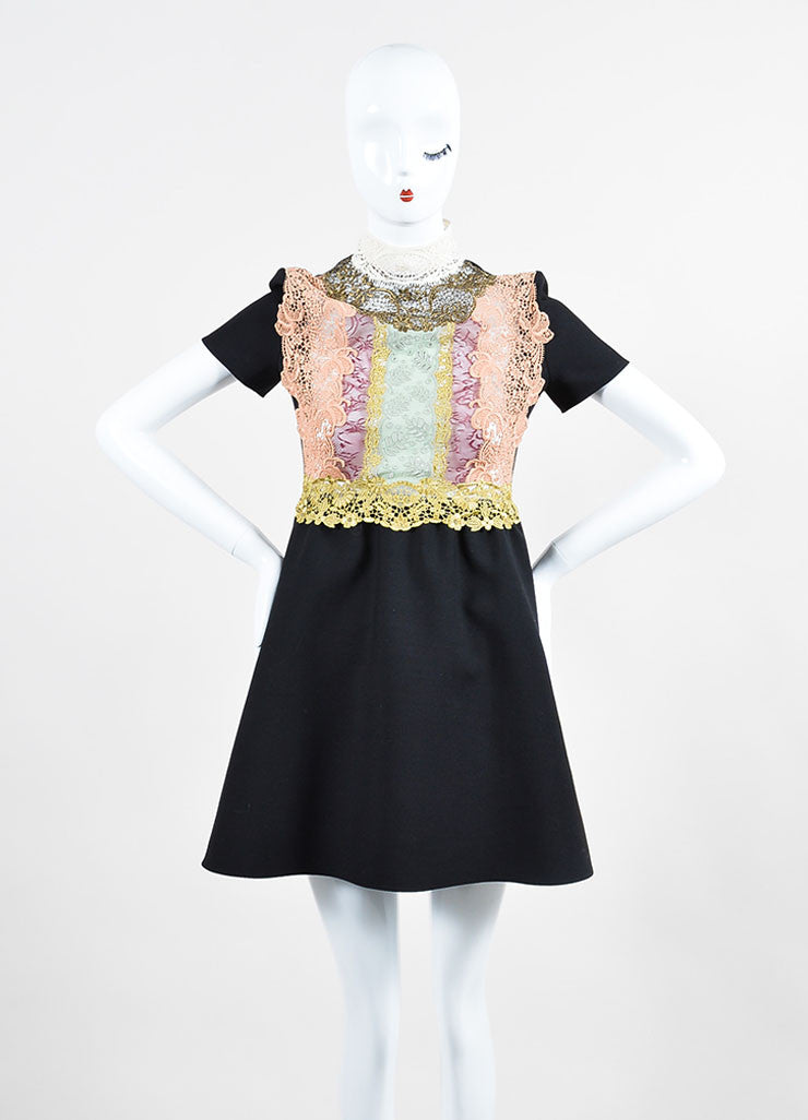 Black and Multicolor Valentino Floral Crochet Lace Short Sleeve Dress Frontview