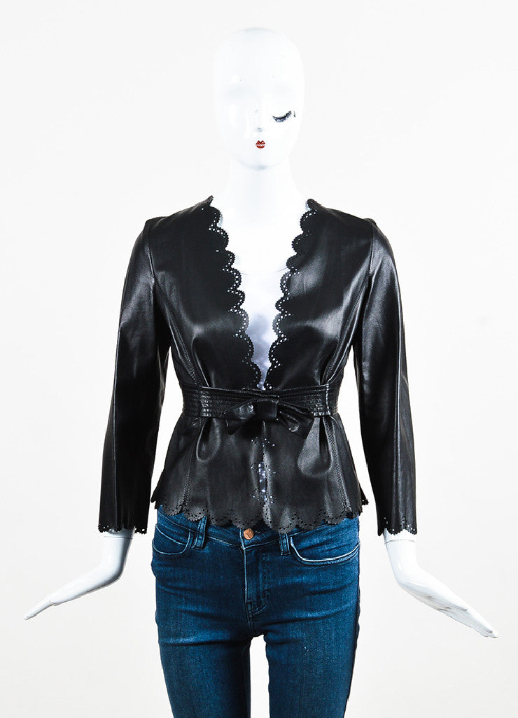 Valentino Black Leather Bow Cropped Cut Out Scalloped Jacket frontview 2