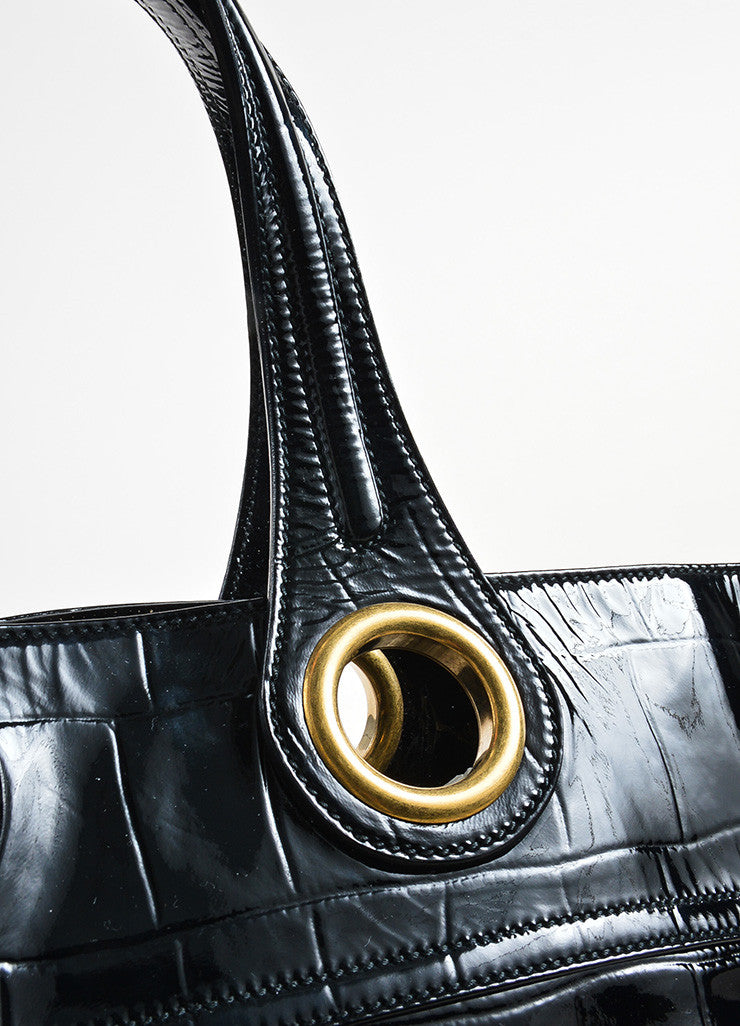 "Yves Saint Laurent Black Patent Leather Grommet Detail Embossed ""Sac Palma"" Tote Bag Detail 2"