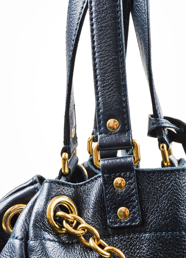 "Navy Leather Gold Toned Chain Drawstring Yves Saint Laurent ""Faubourg"" Tote Bag Detail 2"