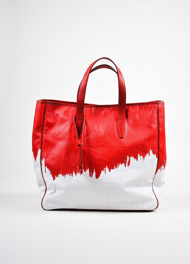 "Red and White Yves Saint Laurent Rive Gauche Canvas ""Raspail"" Painted Tote Bag Frontview"