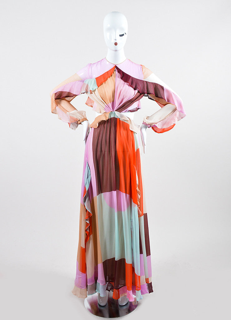 "Multicolor Zimmermann Pastel Chiffon ""Rhythm Flute"" Long Sleeve Gown Frontview"
