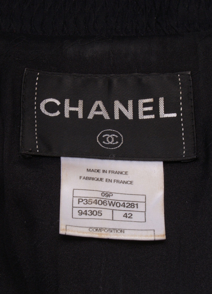 Chanel Black Metallic Textured Chain Trim Long Sleeve Jacket Brand