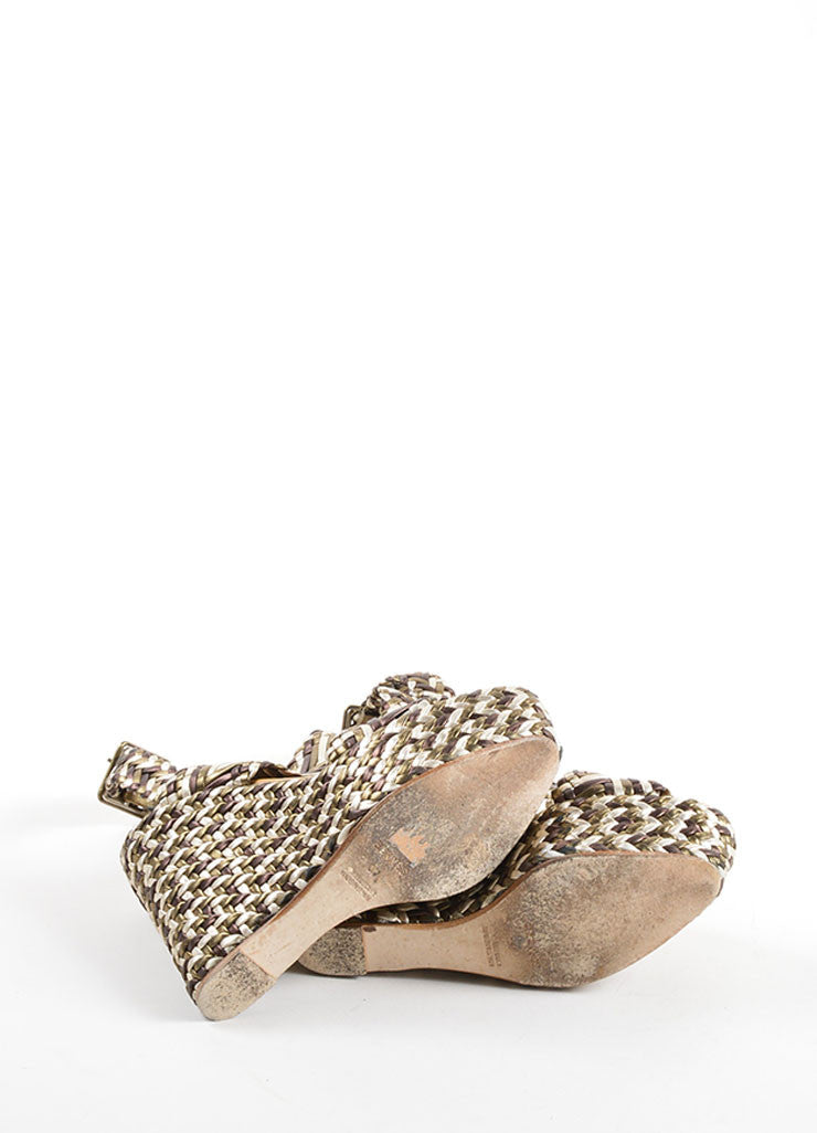 Hermes Brown, Olive and Cream Leather Metallic Braided Platform Wedge Sandals Bottom