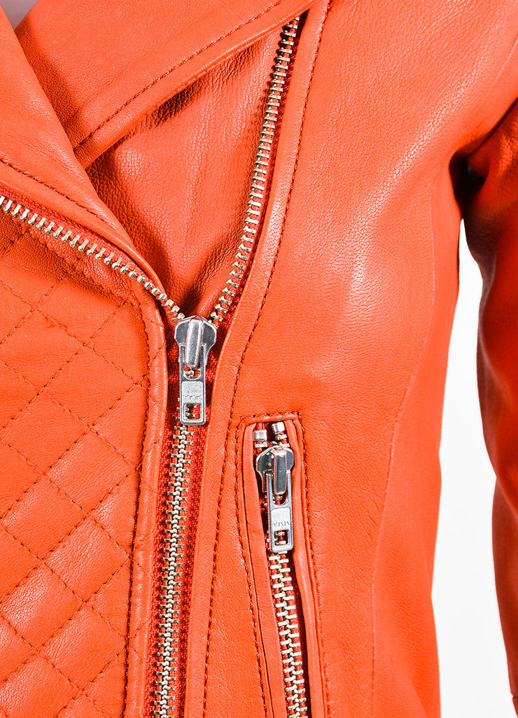 Deep Orange Maje Leather Quilted Moto Jacket Detail