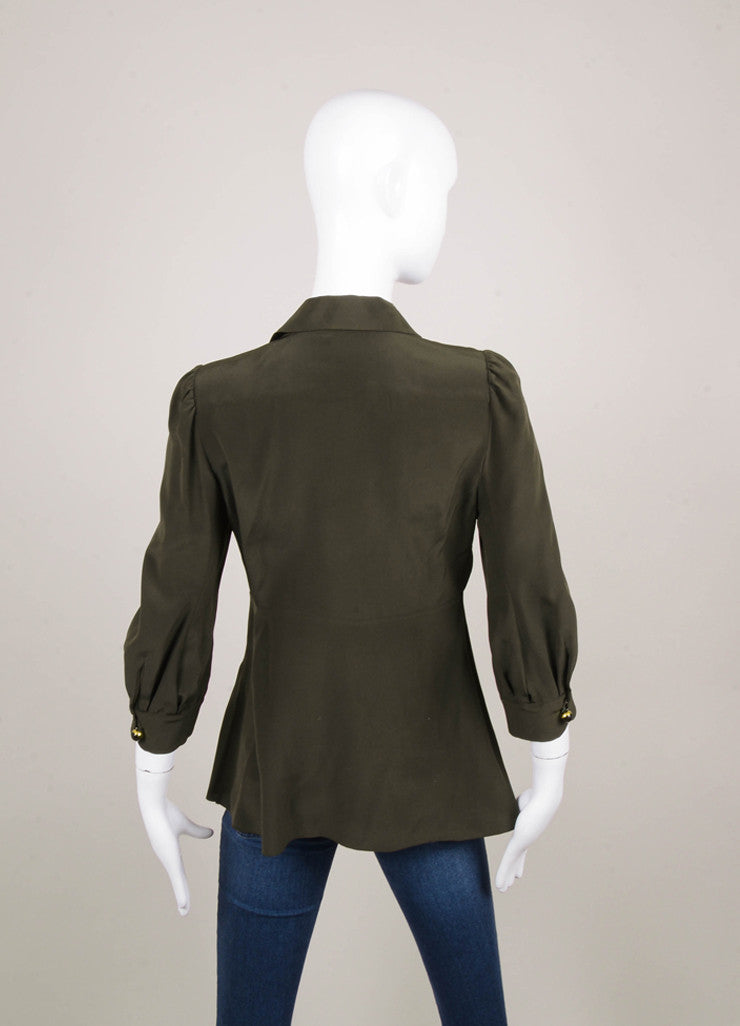 Dark Green Three Quarter Length Sleeve Silk Blouse