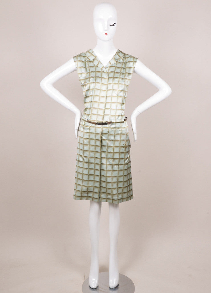 Chanel Light Blue and Light Green Silk Square Print Belted Shirt Dress Frontview