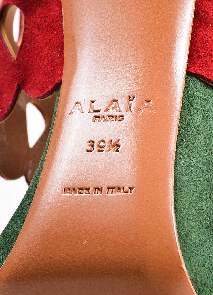 Nude, Red, and Green Alaia Suede Lazer Cut Heeled Sandals Brand