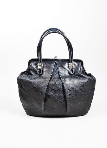 "Black Alexander McQueen Distressed Leather Pleated ""Frame"" Bag Frontview"