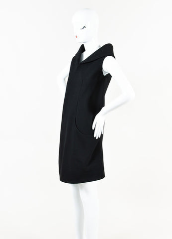 Alexander McQueen Black Wool Crepe Sleeveless Wide Collar Shift Dress Side