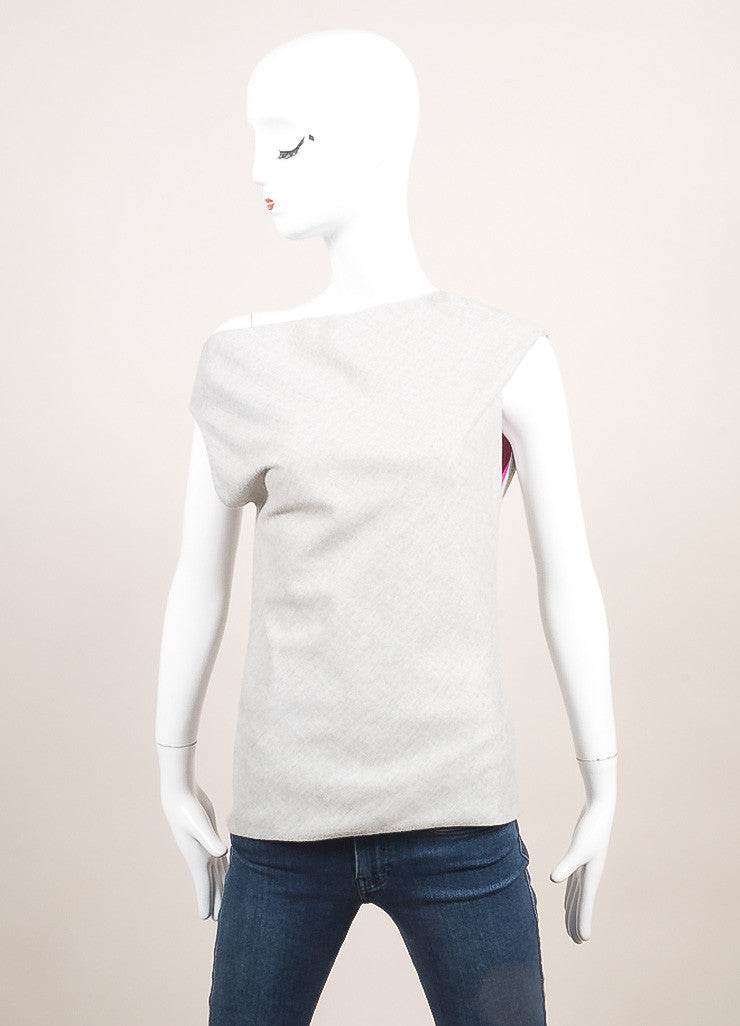 Altuzzara New With Tags Grey Sleeveless Boatneck Asymmetrical Top Frontview
