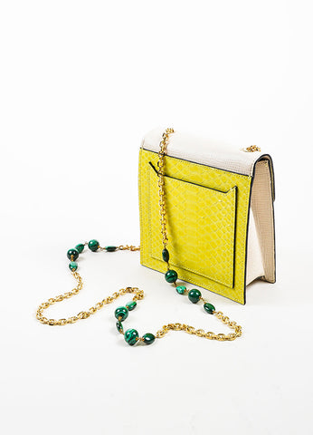 """Chartreuse"" Yellow and Cream Andrew Gn Python Leather Shoulder Bag Sideview"