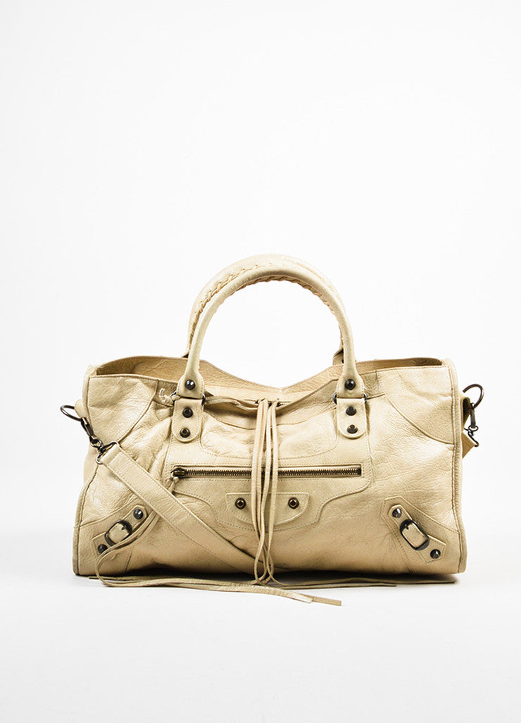 "Beige Balenciaga Leather ""Classic Part Time"" Bag With Shoulder Strap Frontview"