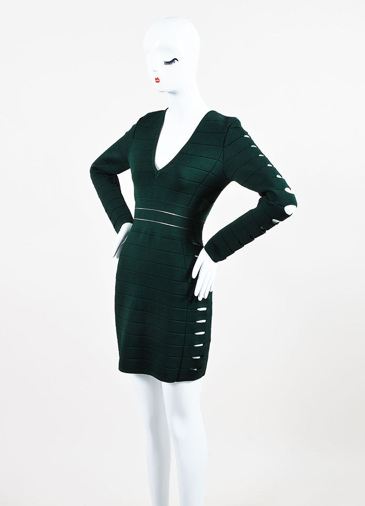Balmain Forest Green Stretch Knit Side Cut Out Long Sleeve Bandage Dress Sideview