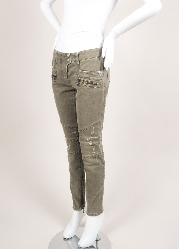 Balmain New With Tags Grey Denim Distressed Zip Moto Jeans Sideview