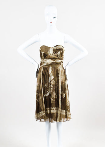 Burberry Brown and Beige Silk Chiffon Italian Print Pleated Strapless Dress Frontview