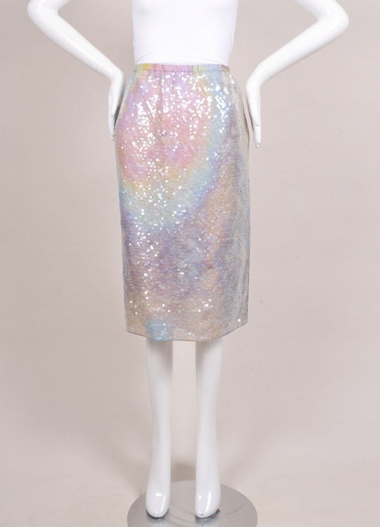 Carven New With Tags Lavender and Green Silk Sequin Embellished Straight Skirt Frontview