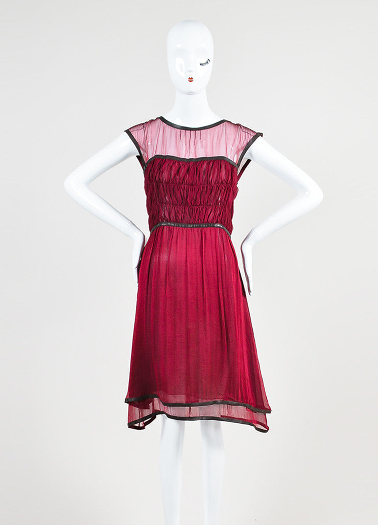Chanel Burgundy Silk Chiffon Brown Leather Trimmed Sleeveless Dress Frontview
