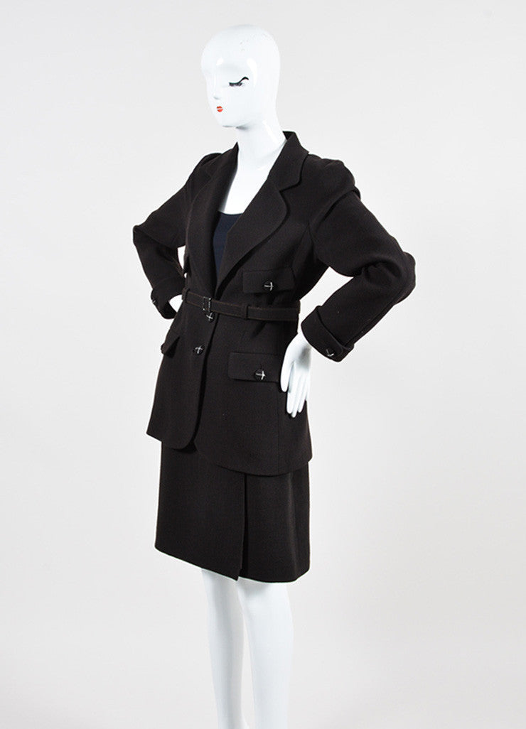 Dark Brown Chanel Wool Belted Jacket and Short Skirt Two Piece Suit Sideview