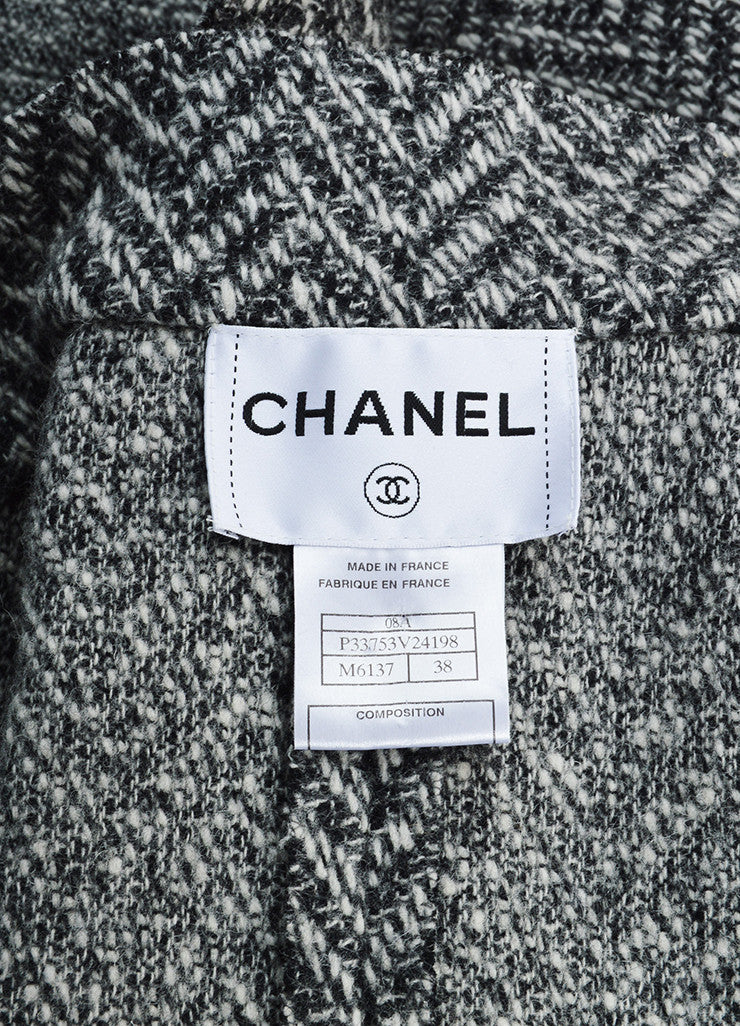 "Chanel Black and White Wool Tweed Zig Zag ""CC"" Button Down Coat Brand"